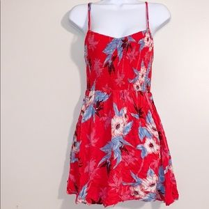 American Eagle spaghetti strap flowered red dress